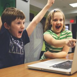 Children Learning Online with Laptop