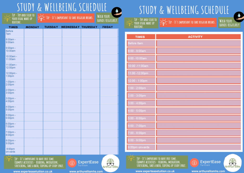 Home Learning Study and well-being schedule